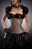 Beautiful young woman in Victorian style outfit and rose corset Royalty Free Stock Images