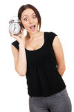 Beautiful young woman with vintage alarm clock Royalty Free Stock Photography