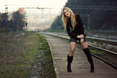 Beautiful Young Woman Waiting on Train Station Royalty Free Stock Photos