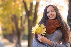 Beautiful woman in the autumn park stock photo