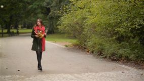 Beautiful young woman walks on a sidewalk near a city park, student girl holding a bouquet of yellow leaves and notebook stock video