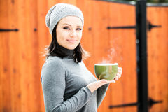 Beautiful young woman in warm clothes Royalty Free Stock Photos
