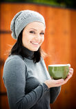 Beautiful young woman in warm clothes Stock Image