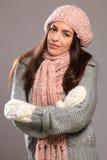 Beautiful young woman in warm winter knit wear Stock Photo