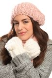 Beautiful young woman warm in winter woolly knit Royalty Free Stock Photo