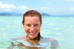 Beautiful young woman in water Royalty Free Stock Image