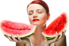 Beautiful young woman with  water melon Royalty Free Stock Photography