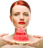 Beautiful young woman with  water melon Stock Image