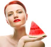 Beautiful young woman with  water melon Royalty Free Stock Image