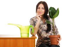 Beautiful young woman watering a plant Stock Photography