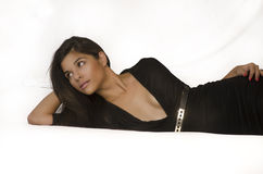 Beautiful young woman wearing black dress Royalty Free Stock Photo
