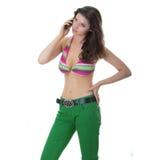 Beautiful Young Woman Wearing A Colorful Bikini Stock Photos