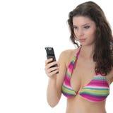 Beautiful Young Woman Wearing A Colorful Bikini Royalty Free Stock Images