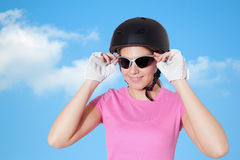 Beautiful young woman wearing cycling equipments Stock Image