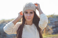 Beautiful young woman wearing fashion autumn clothes. Stock Photo