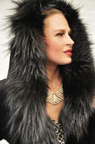 Beautiful young woman wearing fur coat with a hood Royalty Free Stock Photos