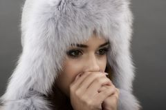 Beautiful Young Woman wearing Fur Hat. Royalty Free Stock Photos