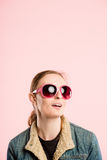 Funny woman portrait pink background real people high definition Royalty Free Stock Photos