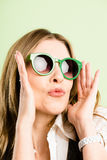 Funny woman portrait real people high definition green backgroun Royalty Free Stock Photo