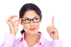 Beautiful young woman wearing glasses portrait. Royalty Free Stock Photos