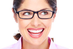 Beautiful young woman wearing glasses portrait. Royalty Free Stock Images
