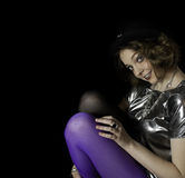 Beautiful young woman wearing hat and silver vintage blouse Stock Image