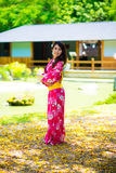 Beautiful young woman wearing japanese traditional Yukata Royalty Free Stock Images