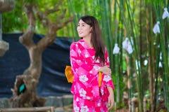 Beautiful young woman wearing japanese  Yukata Royalty Free Stock Photography