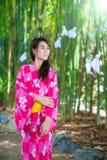 Beautiful young woman wearing japanese  Yukata Stock Photography