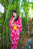 Beautiful young woman wearing japanese  Yukata Stock Photo