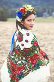 Beautiful young woman wearing national ukrainian clothes posing Royalty Free Stock Photography