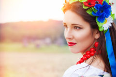 Beautiful young woman wearing national ukrainian clothes posing Stock Photography