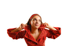 Beautiful young woman wearing red jacket royalty free stock images