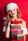 Beautiful young woman wearing Santa Claus costume Royalty Free Stock Photo