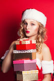 Beautiful young woman wearing Santa Claus costume Royalty Free Stock Photography