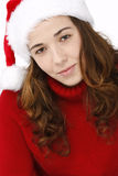 Beautiful young woman wearing santa hat Royalty Free Stock Photography