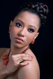 Beautiful young woman wearing stylish necklace royalty free stock photo