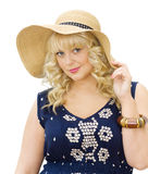 Beautiful young woman wearing summer hat Stock Photography