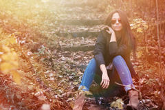 Beautiful young woman wearing sunglasses outdoor portrait Royalty Free Stock Image