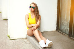 Beautiful young woman wearing a sunglasses and t-shirt Royalty Free Stock Photo