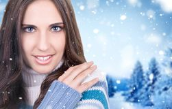 Beautiful young woman wearing sweater Royalty Free Stock Image