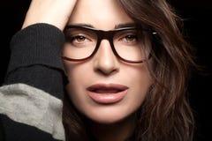 Beautiful Young Woman Wearing Trendy Eyewear Stock Photography