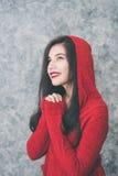 Beautiful young woman wearing warm fashionable winter clothes Stock Photo