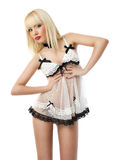 Beautiful young woman wearing white lingerie Stock Photography