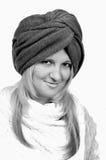 Beautiful young woman wearing winter turban Royalty Free Stock Photography