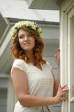 Beautiful young woman wearing a wreath Stock Image