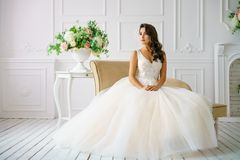 Beautiful young woman in wedding dress beautiful makeup and hairstyle happy bride stock photos