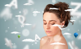 Beautiful young woman with wellness and healthcare clouds. On gradient background stock photos