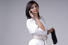 Beautiful young woman in white Stock Photo