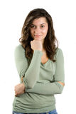 Beautiful young woman on white Royalty Free Stock Photos